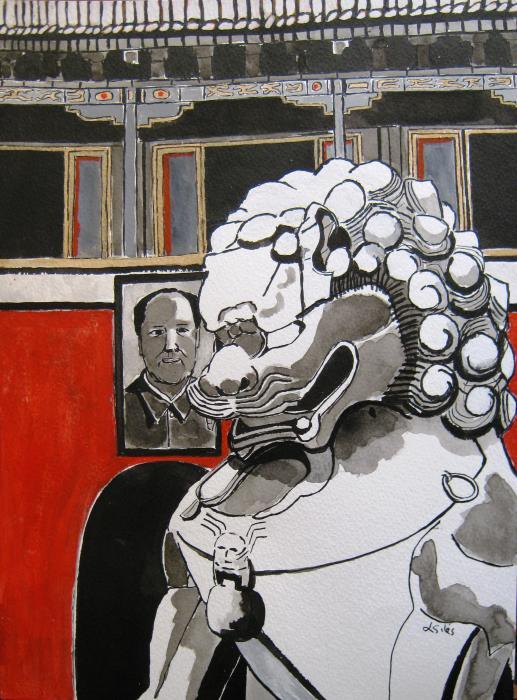 Beijing Tiananmen Lion Print by Lesley Giles