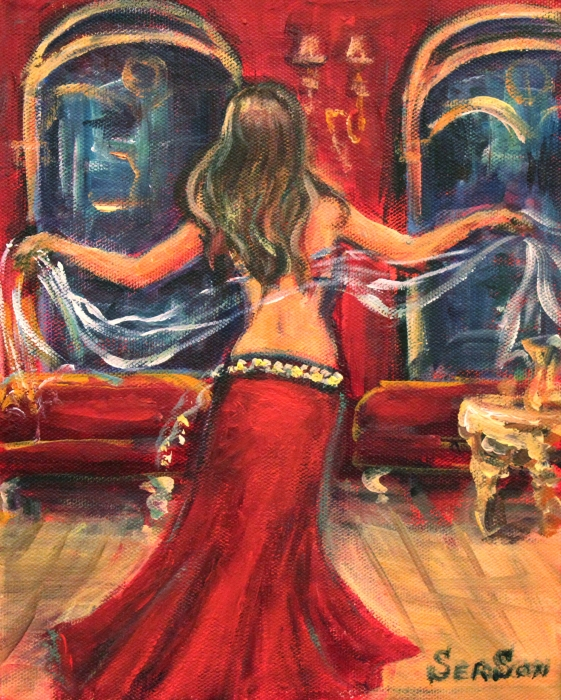 Belly Dancing Print by Sonia  Von Walter