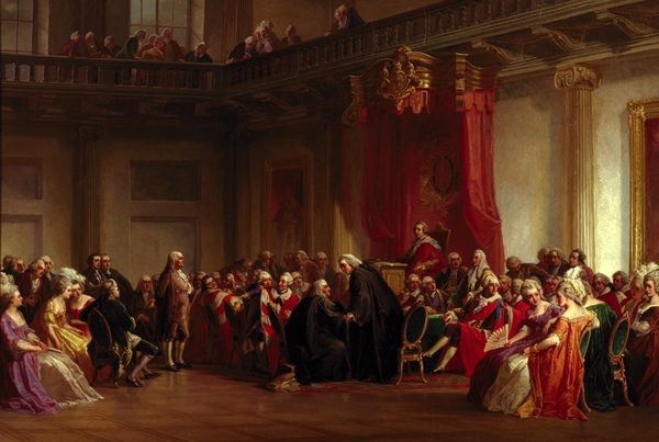 Benjamin Franklin Appearing Before The Privy Council  Print by Christian Schussele