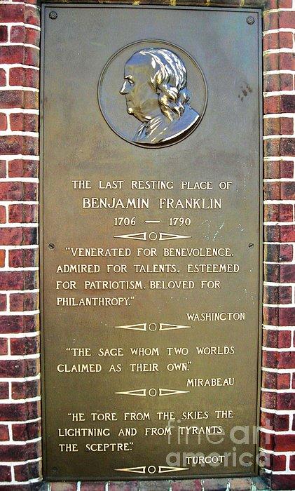 Benjamin Franklin Marker Print by Snapshot  Studio