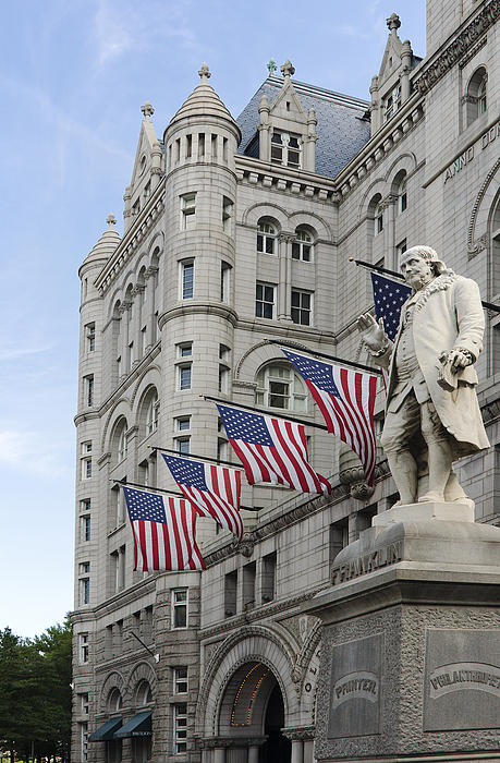 Benjamin Franklin Statue In Front Of The Old Post Office - Washington Dc Print by Brendan Reals