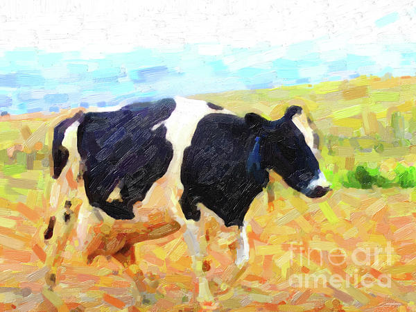 Betsy The Milk Cow Coming Home Print by Wingsdomain Art and Photography