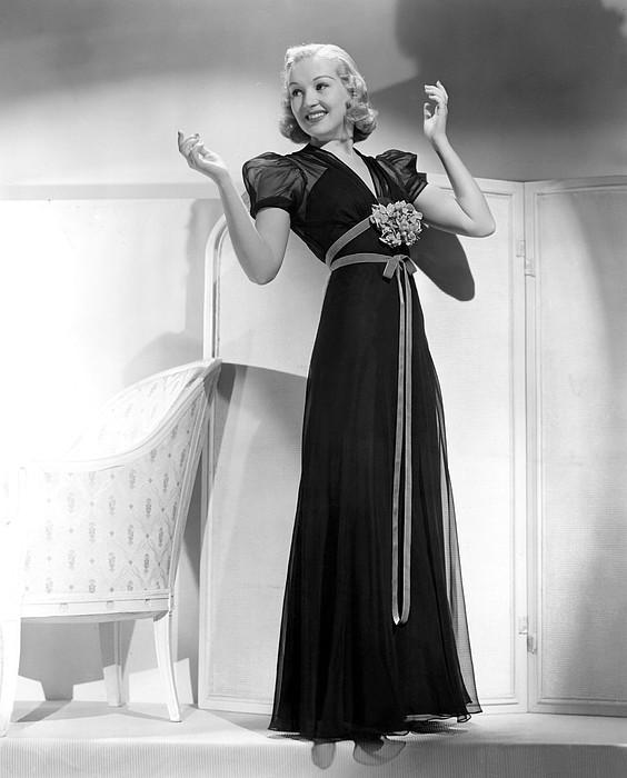 Betty Grable In Black Chiffon Dinner Print by Everett