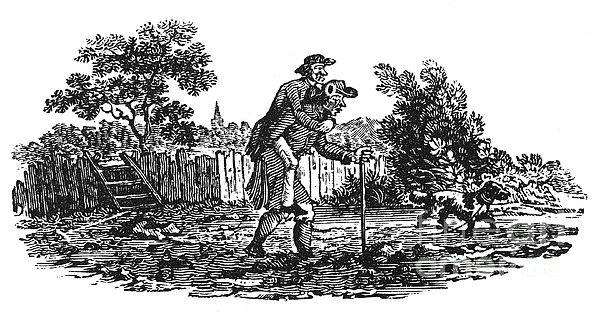 Bewick: Man Carrying Man Print by Granger