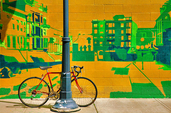 Bicycle And Mural Print by Steven Ainsworth