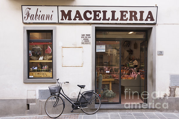 Bicycle In Front Of Italian Delicatessen Print by Jeremy Woodhouse