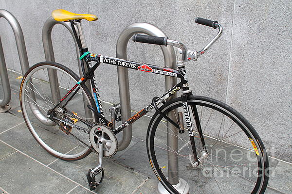 Bicycle With Stickers Print by Wingsdomain Art and Photography