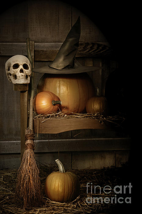 Big Pumpkin With Black Witch Hat And Broom Print by Sandra Cunningham