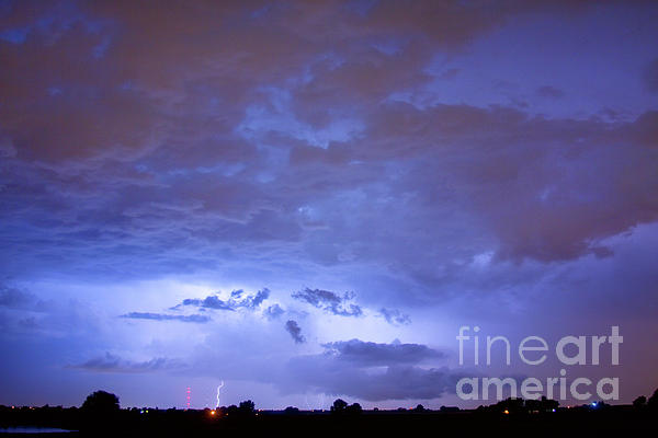 Big Sky With Small Lightning Strikes In The Distance Print by James BO  Insogna