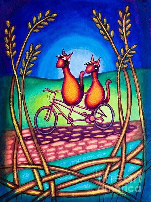 Biker Kats Print by Laurie Tietjen