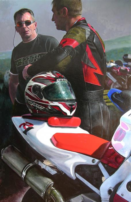 Bikers At The Horseshoe Pass Print by Harry Robertson