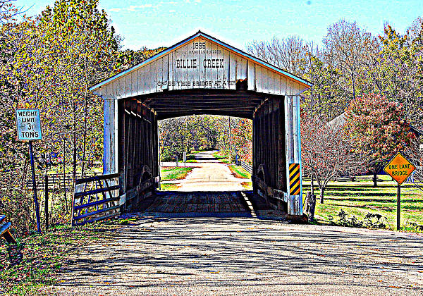 Billie Creek Village Covered Bridge Print by Robin Pross