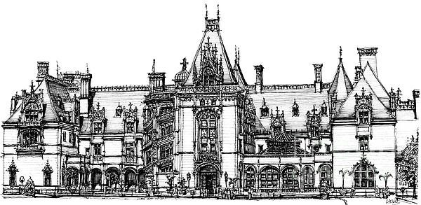 Biltmore House In Asheville  Print by Lee-Ann Adendorff
