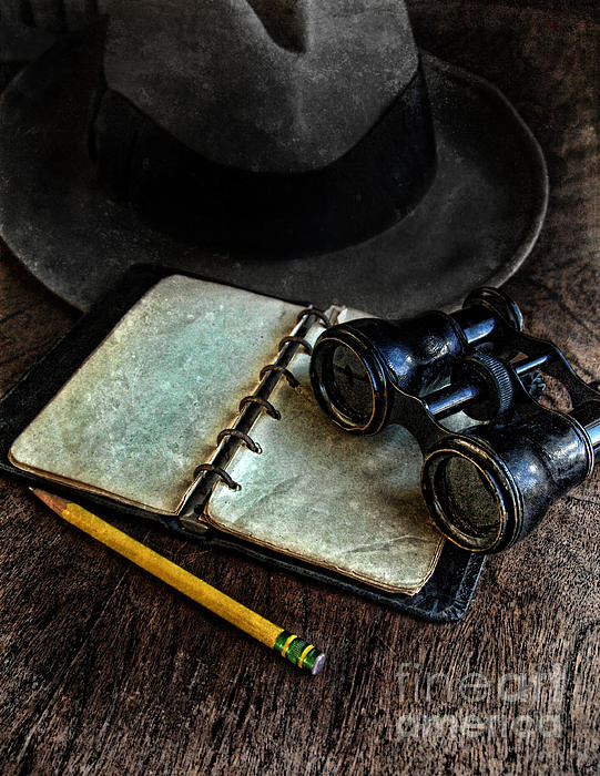 Binoculars Fedora And Notebook Print by Jill Battaglia
