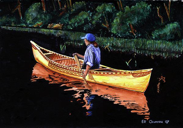 Birch-bark Canoe Print by Edward Coumou