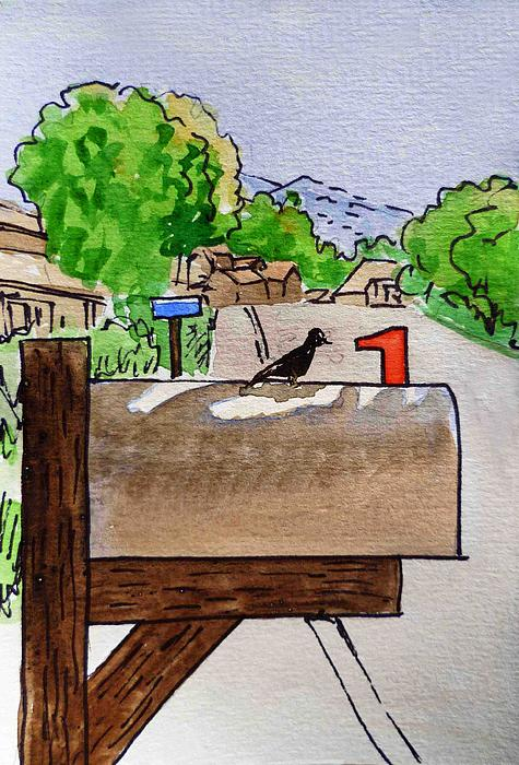 Bird On The Mailbox Sketchbook Project Down My Street Print by Irina Sztukowski
