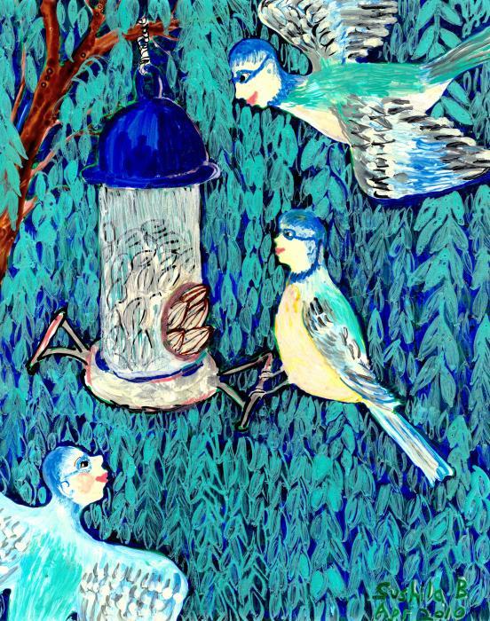 Bird People The Bluetit Family Print by Sushila Burgess