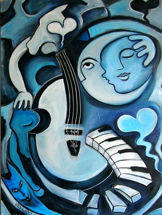 Black And Bleu Print by Valerie Vescovi