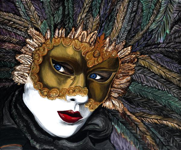 Black And Gold Carnival Mask Print by Patty Vicknair