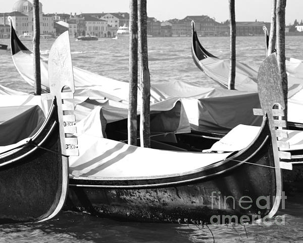 Black And White Gondolas Venice Italy Print by Rebecca Margraf