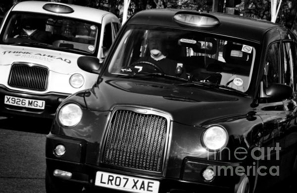 Black And White London Taxi Cabs Print by Andy Smy