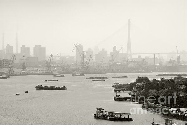 Black And White Of Cranes And River Traffic Print by Jeremy Woodhouse