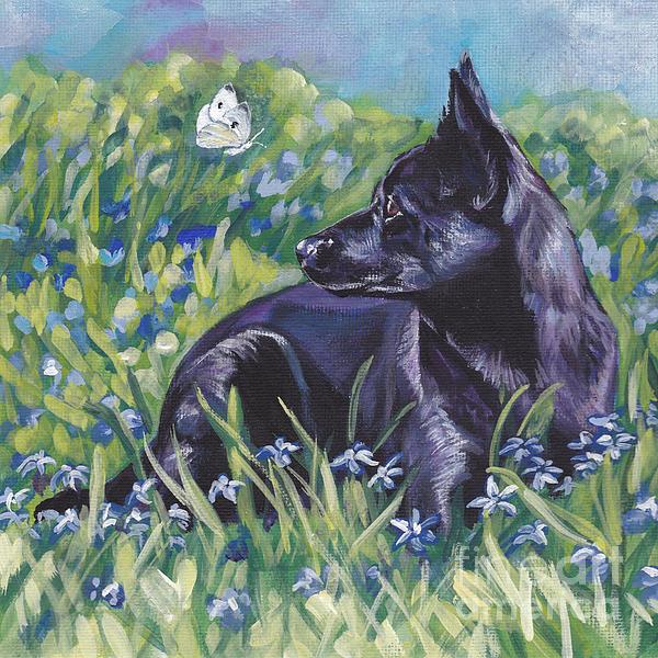Black Australian Kelpie Print by Lee Ann Shepard
