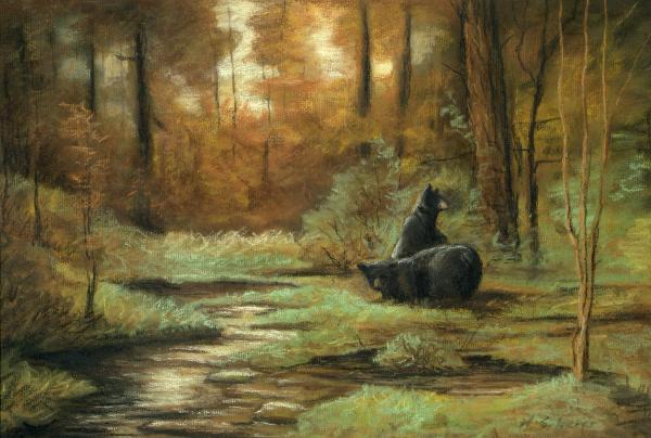 لـــوحات michael Scherer black-bear--autumn-m