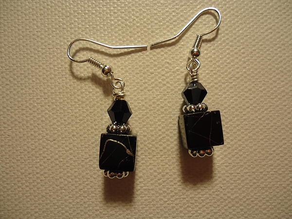 Black Cube Drop Earrings Print by Jenna Green