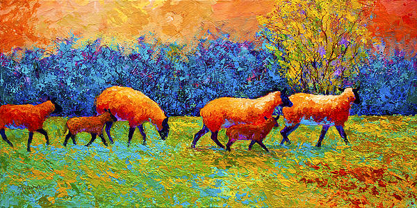 Blackberries And Sheep II Print by Marion Rose