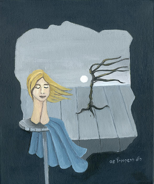 Blond In The Wind Surrealistic Landscape Windy Tree Woman Head In Blue And Yellow  Print by Rachel Hershkovitz