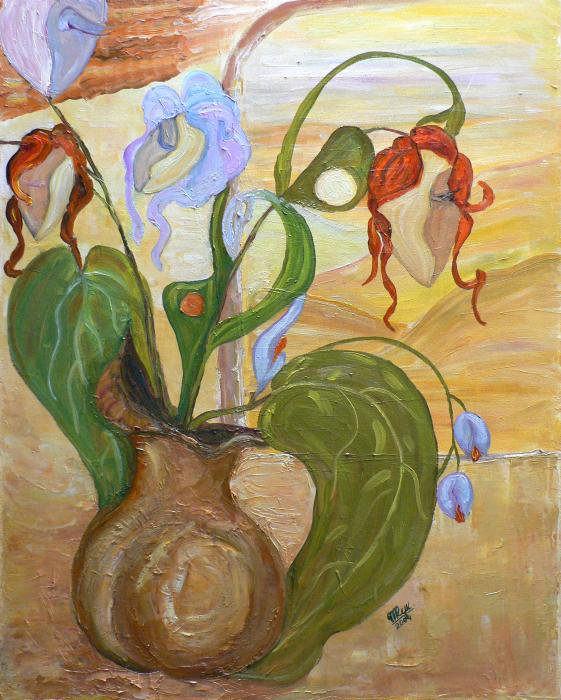 Blooming Orchids In The Vase Painting  - Blooming Orchids In The Vase Fine Art Print