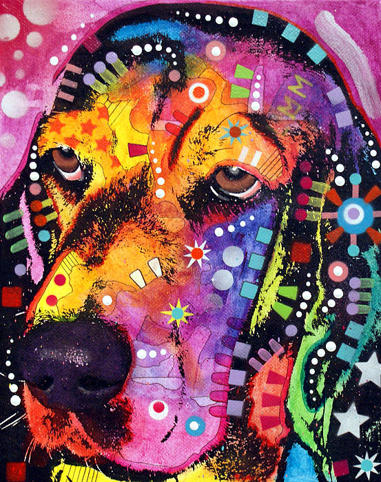 Blossom Basset Hound Print by Dean Russo