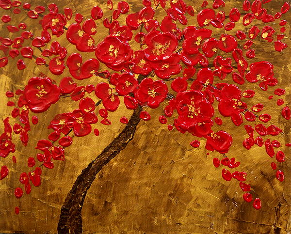 'blossom' Original Impasto Palette Knife Abstract Painting Cherry Tree Print by Aboli Salunkhe