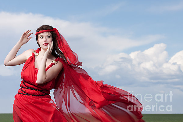 Blown Away Woman In Red Series Print by Cindy Singleton