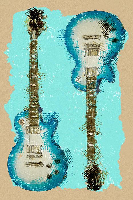 Blue Abstract Guitars Print by David G Paul