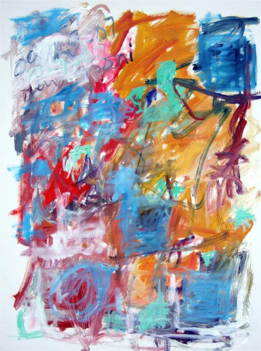 Blue And Orange Abstract Print by Michael Henderson