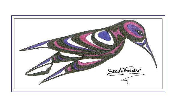 Blue And Purple Humming Bird Print by Speakthunder Berry