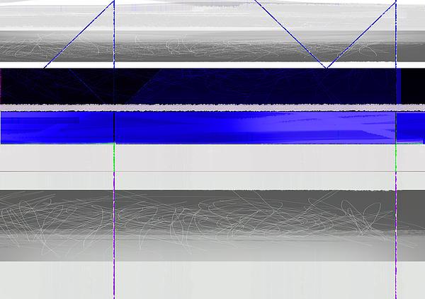 Blue And White Stripes Print by Naxart Studio