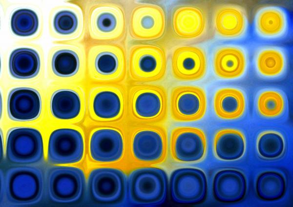 Blue And Yellow Circles  B Print by Patty Vicknair