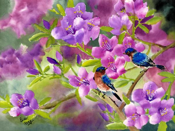 blue birds with azalea painting by eileen fong blue birds with blue birds 600x449