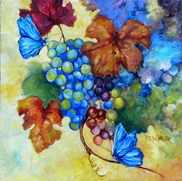 Blue Butterflies And Grapevine  Print by Peggy Wilson