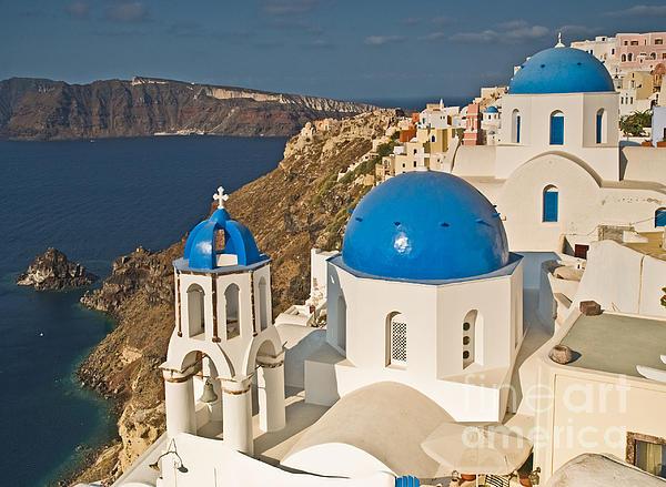 Blue Churches Of Santorini Print by Jim Chamberlain