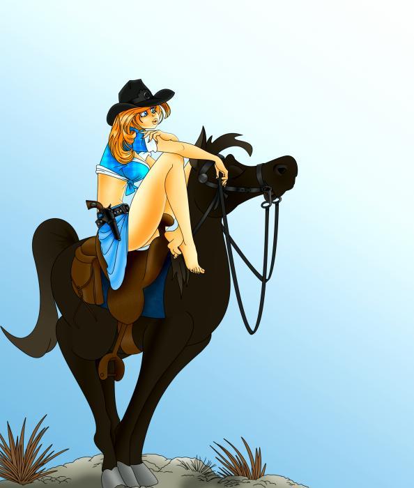 Blue Cowgirl Print by Lynn Rider