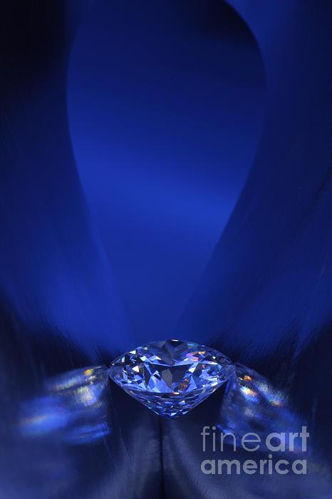 Blue Diamond In Blue Light Print by Atiketta Sangasaeng