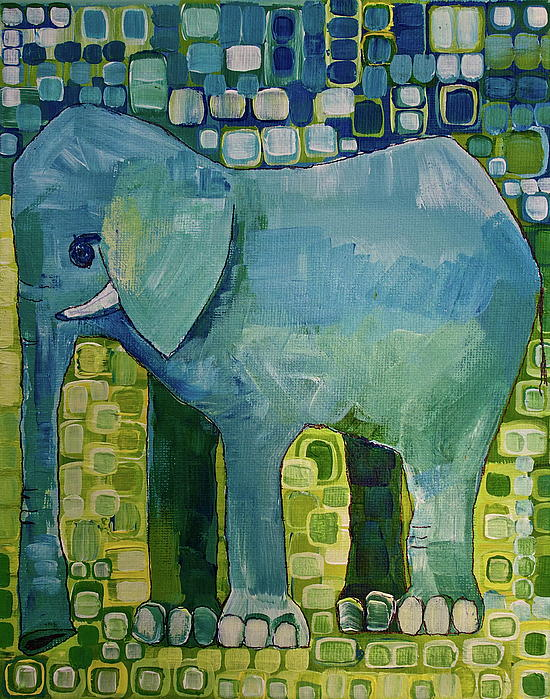 Blue Elephant Painting  - Blue Elephant Fine Art Print