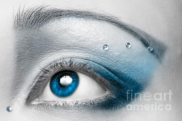 Oleksiy Maksymenko - Blue Female Eye Macro with Artistic Make-up