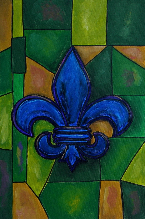 Blue Fleur De Lis Print by Patti Schermerhorn