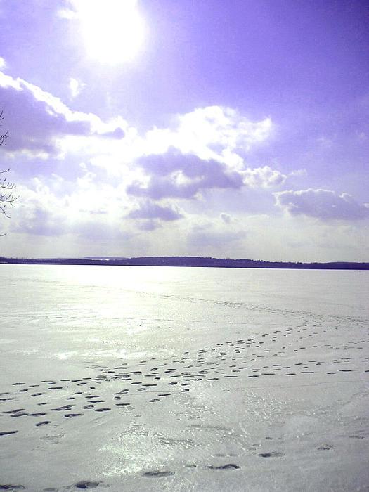 Blue Frozen Lake Print by Silvie Kendall