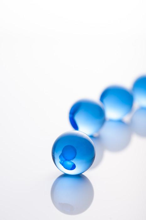 Blue Glass Balls With Regularity Print by Toshiro Shimada